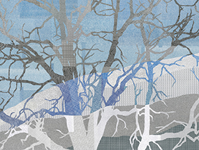Blue and grey abstract art with tree