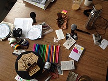 Studio table with supplies