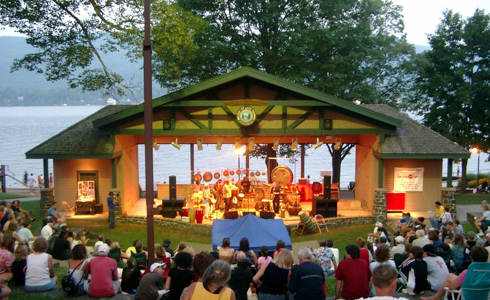 Band playing in Shepard Park in lake George